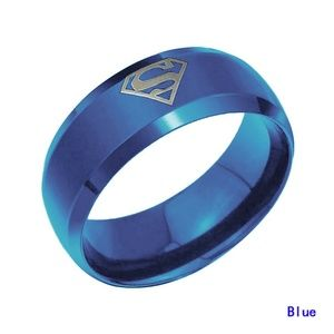 8MM Men's Stainless Steel Band Ring Superman